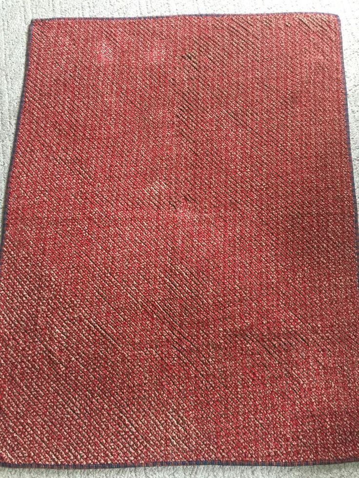 """Chenille Throw or Lap Quilt, 40.5"""" x 54"""", Red and Blue, Chenille Blanket  