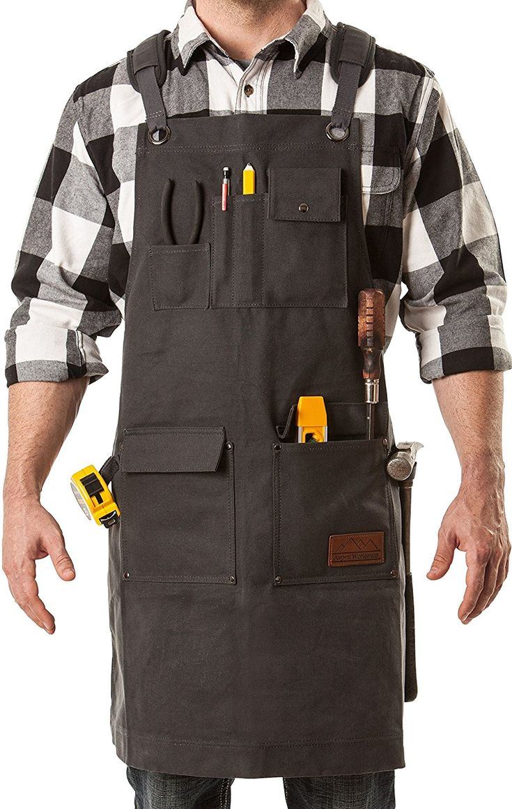 AmazonSmile: Aspen Workwear | Ultimate Heavy Duty Waxed Canvas Apron with Pockets, Debris Shields, Padded Cross back Apron, Quick Release Buckle, Hammer Loops - Adjustable to XXL - Shop Aprons for Men and Women: Home Improvement