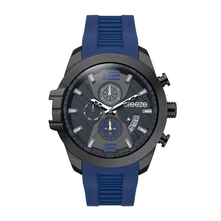 Ανδρικό μοντέρνο αδιάβροχo ρολόι BREEZE 110712.3 Cruzer με μαύρο καντράν και μπλε λουρί από σιλικόνη | Ρολόγια BREEZE ΤΣΑΛΔΑΡΗΣ στο Χαλάνδρι #breeze #cruzer #μαυρο #σιλικονη #tsaldaris