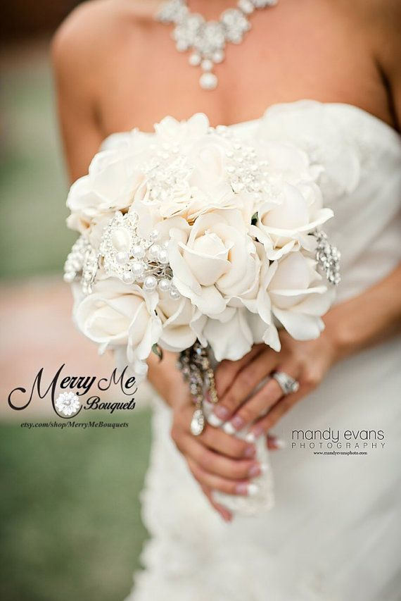 Ivory True Touch Rose Bouquet Ivory Bridal by MerryMeBouquets