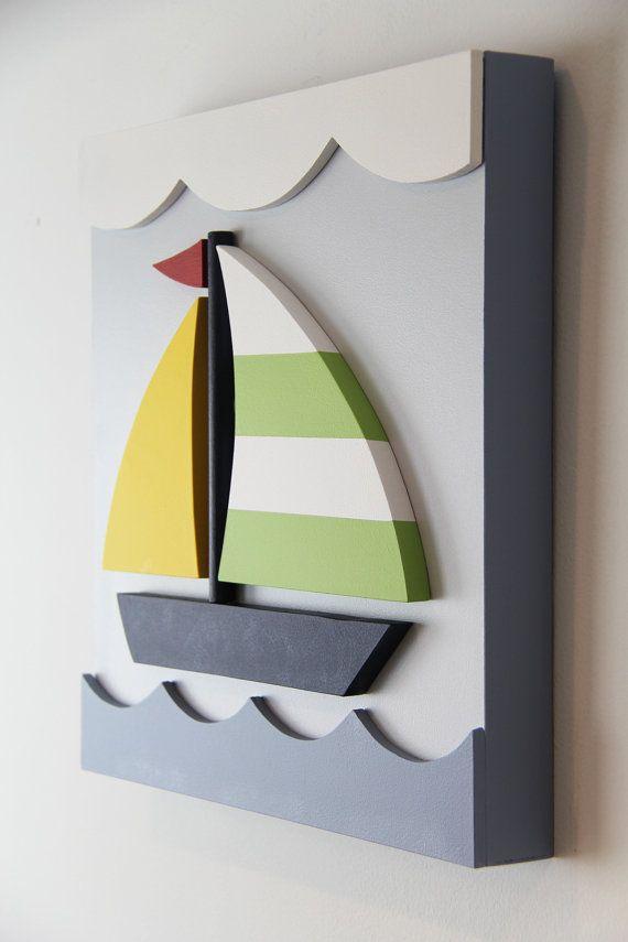 Velero madera 3D niños arte de la pared de la sala náutica, amarillo y verde…