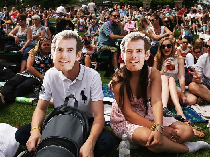 Fans of Andy Murray inside the grounds of Wimbledon.
