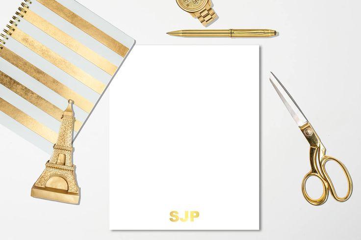 8.5x5.5 Monogrammed Gold Foil Stationery Sheets -  Basic Stationery,  Monogrammed Stationery, Gold Foil Stationery, Custom Stationery
