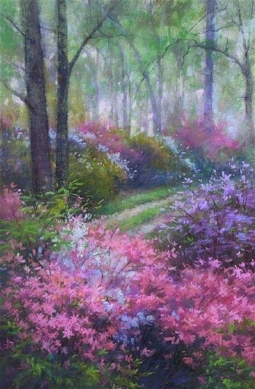 Azaleas in The Mist by Lisa Mitchell Pastel ~ 10 x 14