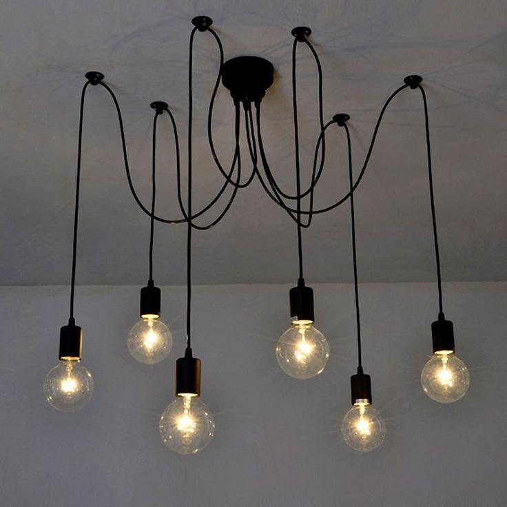 lixada luz lmpara del techo candelabro iluminacin retra antigua colgante clsica ajustable diy con brazos de araa para bombilla para comedor hotel