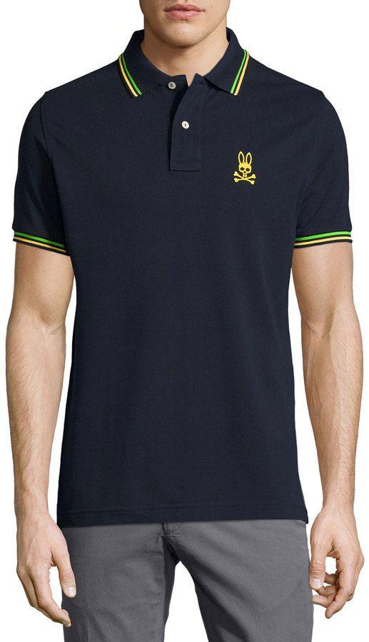 Psycho Bunny Neon Bunny Stripe-Trim Polo Shirt