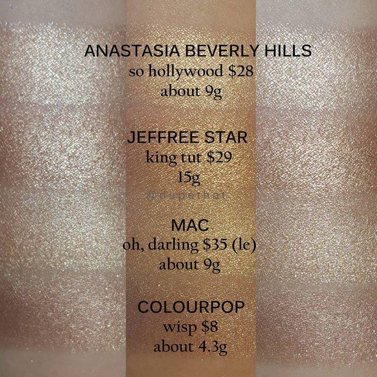 Anastasia So Hollywood, Jeffree Star King Tut, MAC Oh, Darling = Colourpop Wisp #dupe #highlighter