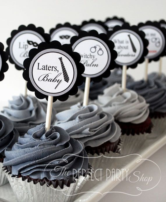 Fifty Shades of Grey Cupcake Toppers - Set of 12 - 12 Different Quotes