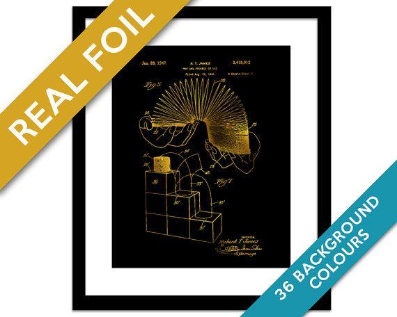 Slinky Toy Patent Illustration - Gold Foil Print - Slinky Poster - Classic Toy Art - Slinky Art - Retro Toy Poster - Blueprint - Science Art