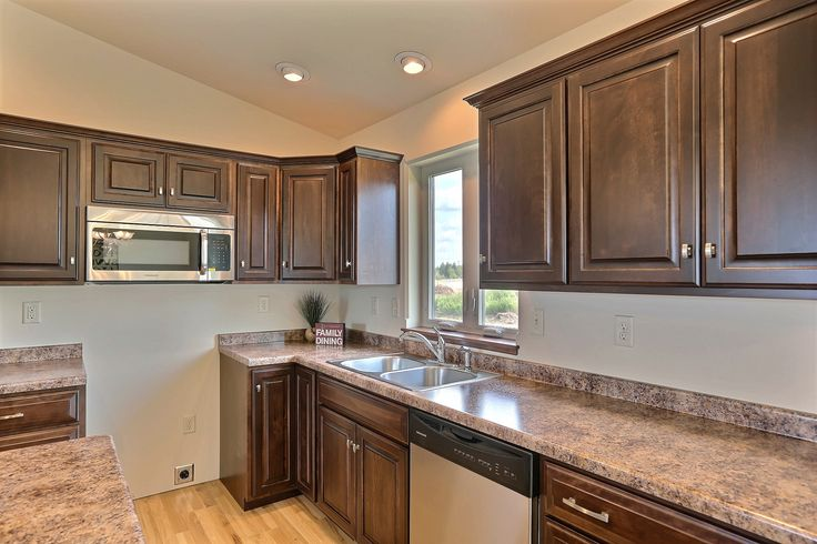 (RV16) Pecan Floor Plan- Square Raised Style Cabinets in ...