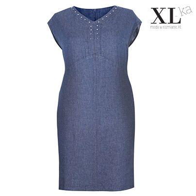 Lniana sukienka na lato w kolorze jeansu |Sukienka z lnu duże rozmiary | Pomysł - sukienka na lato plus size w sklepie XL-ka #plussize #moda #sukienki #sukienkinalato