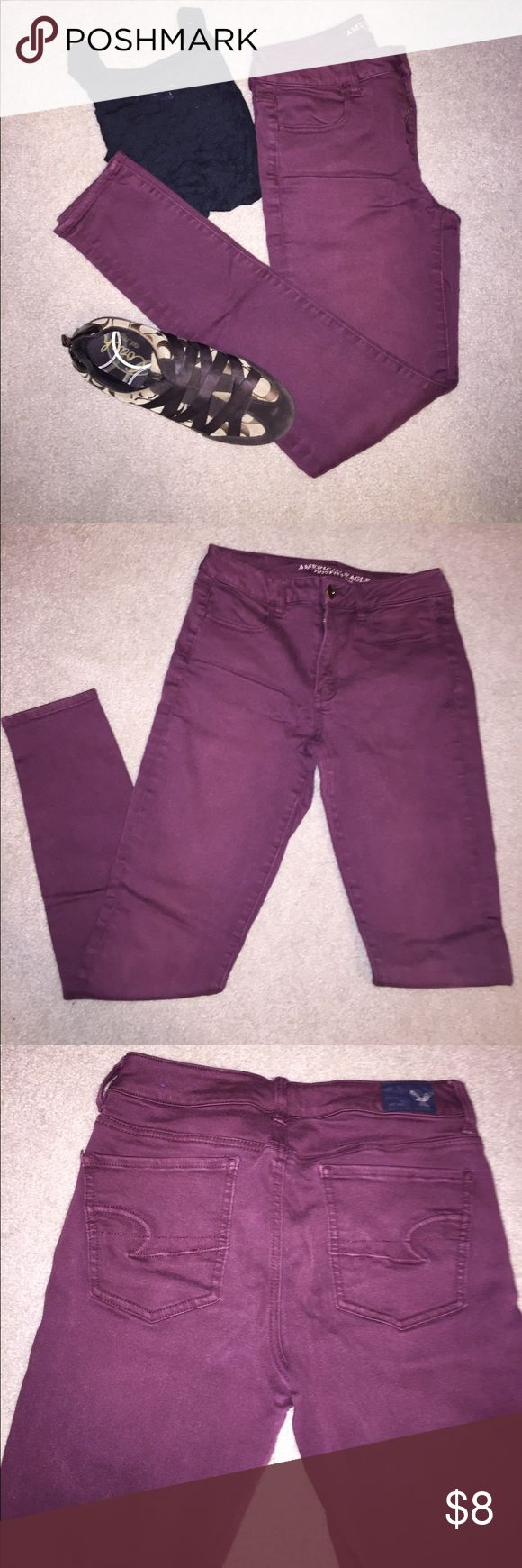 Maroon High Rise Jeggings High waisted size 6 maroon leggings from American Eagle. Add a pop of color to your wardrobe with these stretchy high waisted pants. Perfect for every day wear. Hardly worn with no visible signs of wear. American Eagle Outfitters Jeans Skinny