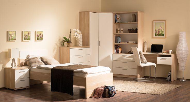 Nexus ifjúsági szoba álgesztes juhar - fehér színben.