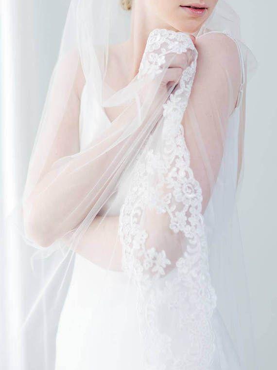 Lace Wedding Veil | Bridal Veil | Cathedral Veil | Chapel Lace Veil | Romantic Veil | Long Wedding Veil | Soft Tulle Veil [Rosà Veil]