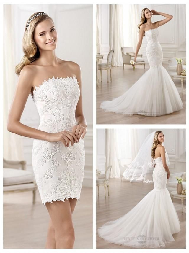Dress with detachable mermaid skirt strapless bodice in for Removable tulle skirt wedding dress