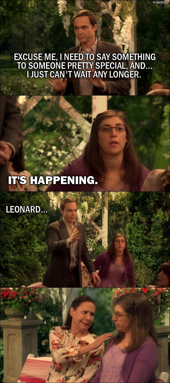 Quote from The Big Bang Theory 10x01 │  Sheldon Cooper: Excuse me, I need to say something to someone pretty special, and… I just can't wait any longer. Amy Farrah Fowler: It's happening. Sheldon Cooper: Leonard…