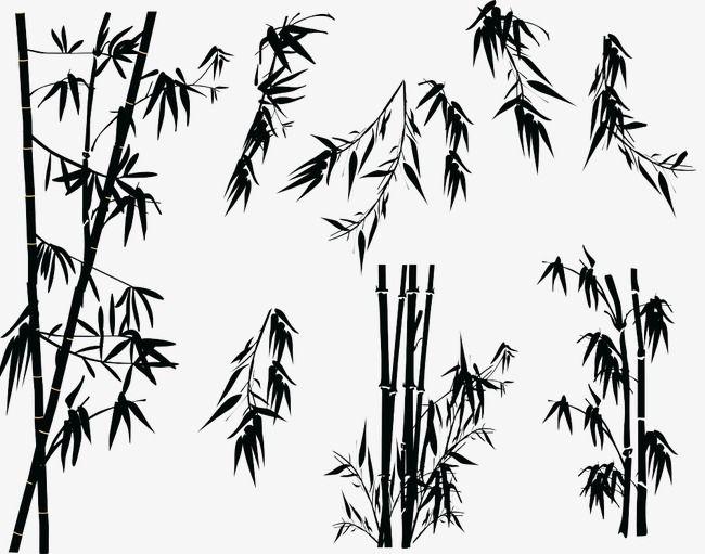 Croquis De Bambou De Bambou Silhouette De Dessin Animé Main