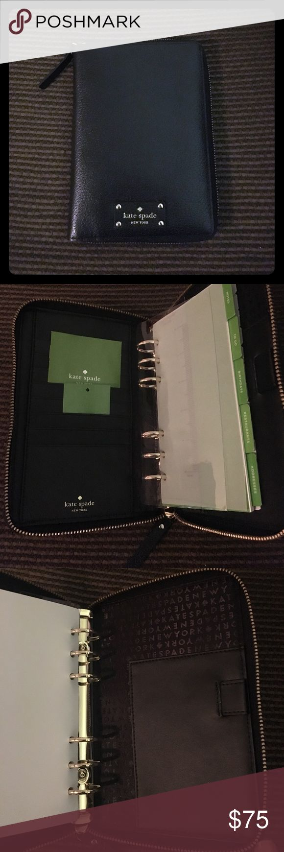"""NWT-Kate Spade zip around Wellesley agenda new. NWT-Kate Spade zip around personal organizer black leather. Brand New. It includes everything shown in the photos above, no calendar but online or amazon has the 2018 already. :)         Measurements:5.5""""L x 7.75""""H x 1.5""""W.   Made of leather. Zip around closure with leather pull. Inside multifunction slip pockets, 8 card slots and 1 pen slot.  Fabric lining. Gold tone hardware. kate spade Accessories"""