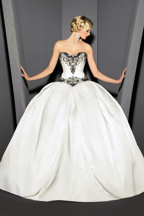 Couture Wedding Dresses-Love the Black and White.