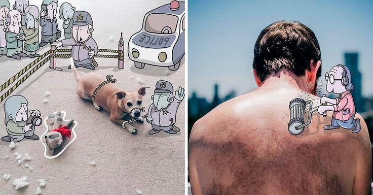 Lucas Levitan es un artista multimedia brasileño que elige fotografías de Instagram y las transforma en fascinantes ilustraciones con divertidos dibujos.