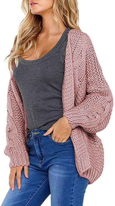 Astylish Womens Sweater Cardigans Winter Warm Cozy Open Front Long Sleeve  Chunky Knit Casual Cardigan Sweater d5f99a846