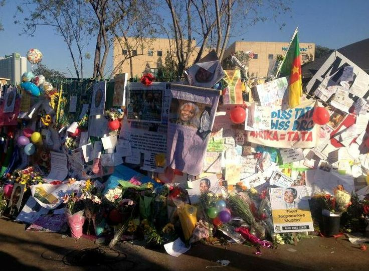 The tributes and flowers at the hospital have grown exponentially over the weekend. Picture: Liela Magnus, SABC Radio Reporter