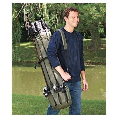 Portable Travel Fishing Rod Pole Reel Gear Case Bag Carrier Holder Storage Rack