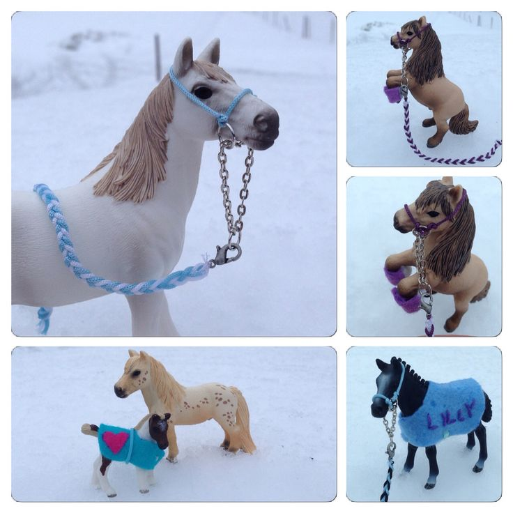 DIY accessories for miniature horses, Schleich, halters.