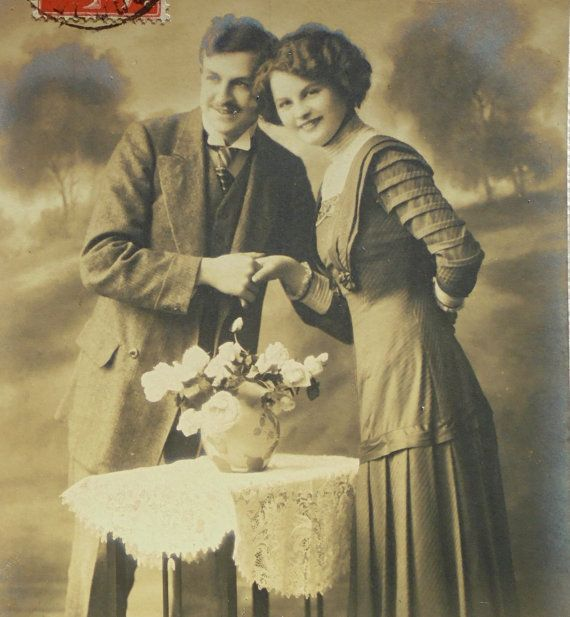 Antique French Postcard   Couple Holding Hands by ChicEtChoc