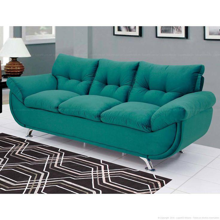 Compre Sofá com Assento e Encosto Fixo Loft 3 Lugares Azul Turquesa - Urbe Móveis em Promoção com ✓ Até 12x ✓ Fretinho
