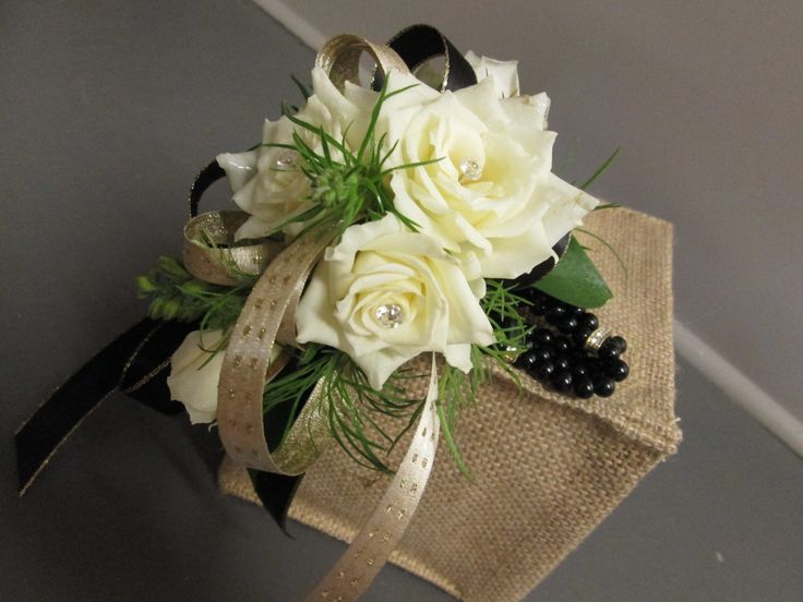 Black, White & Gold Corsage Petalessence Flowers, Listowel, Ontario