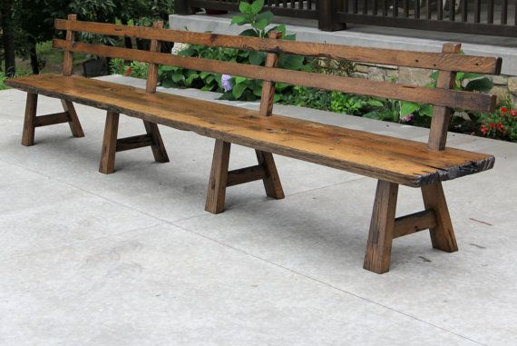 Live Edge Barn Wood Bench with Back Rest – 15′ Long