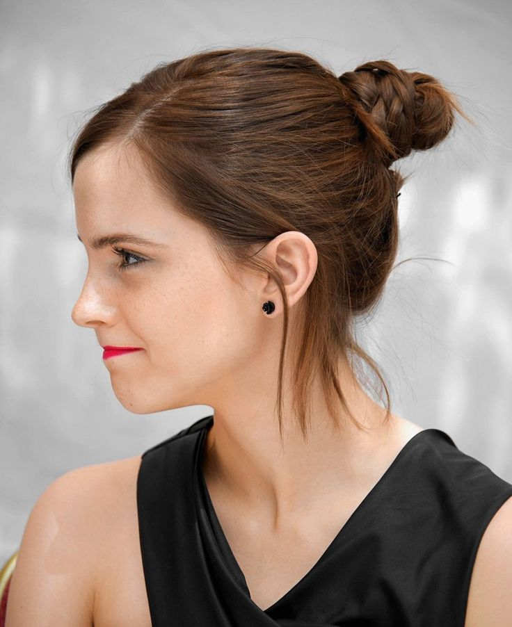 emma with a cute little braided bun #celebhair