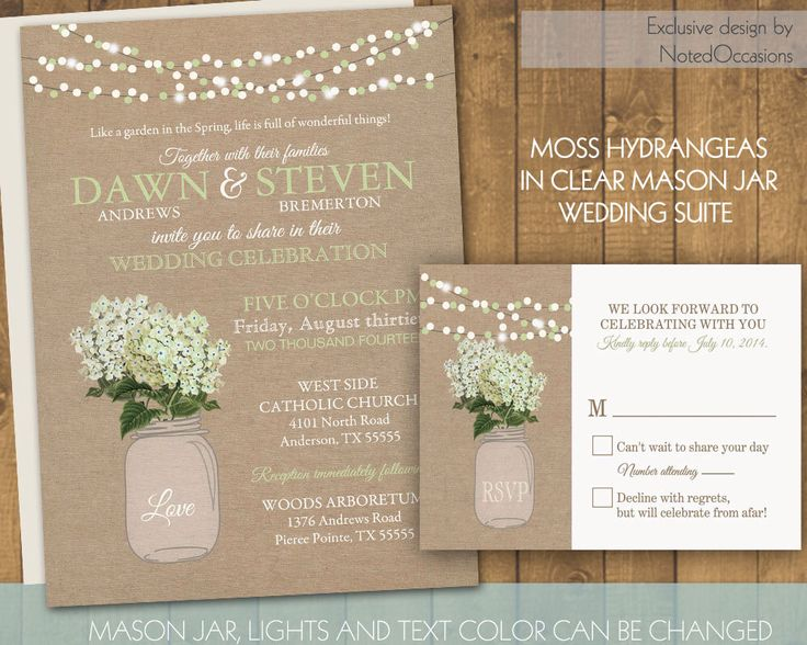 Mason Jar Wedding Invitation - Rustic Mason Jar Country Wedding Invitations with Hydrangeas and dangling lights  - on burlap Printable Files by NotedOccasions on Etsy https://www.etsy.com/listing/180574836/mason-jar-wedding-invitation-rustic