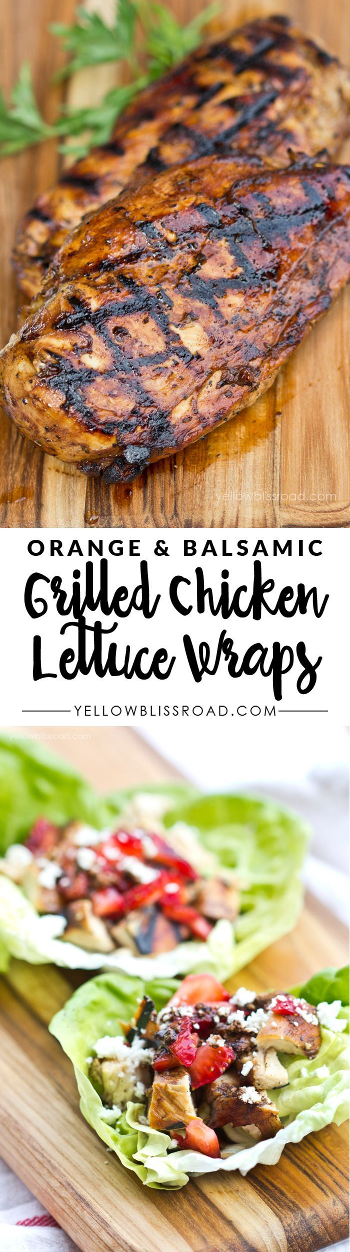 Orange & Balsamic Grilled Chicken Lettuce Wraps with Strawberries, Feta and Toasted Pecans