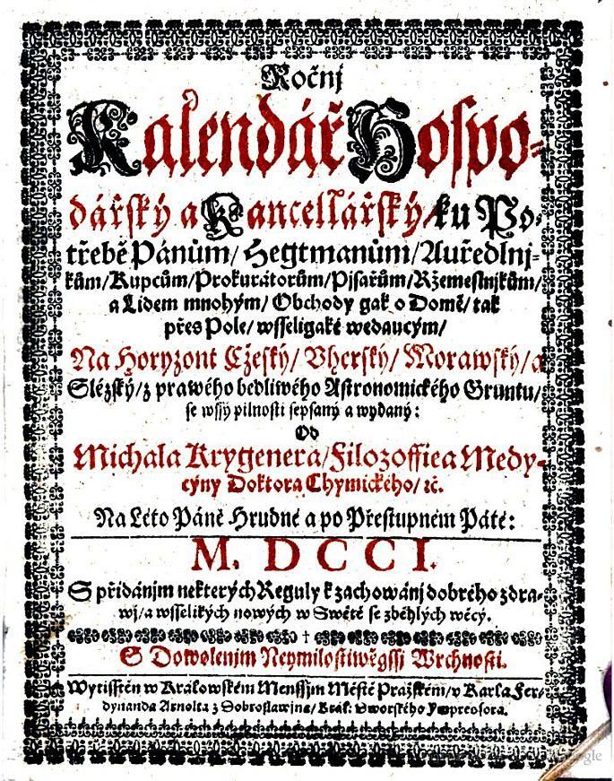 Rocnj Kalendar hospodarsky a Kencellarsky - Jan-Filip Han - 1701