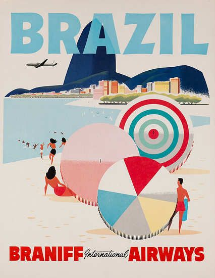 DP Vintage Posters - Brazil Braniff International Airways Original Travel Poster Beach Umbrellas