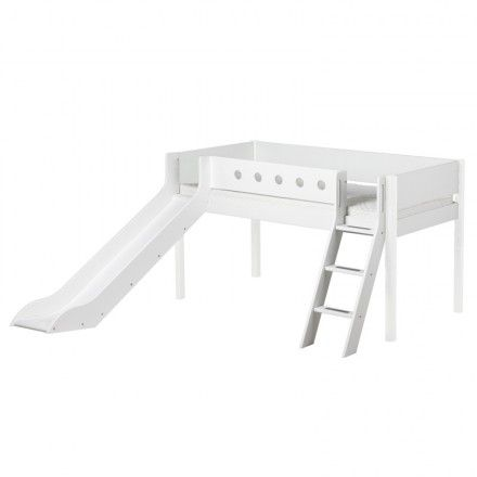 FLEXA Mid-High Bed With Slanted Ladder And Slide - White