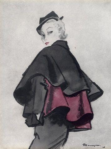 Christian Dior, 1948. Illustration: Pierre Mourgue.