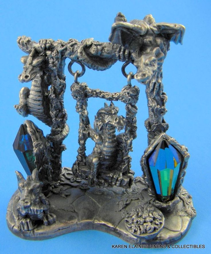 Vintage a g slocomb pewter figurine statue dragons at play 3147 interests pinterest - Pewter dragon statues ...