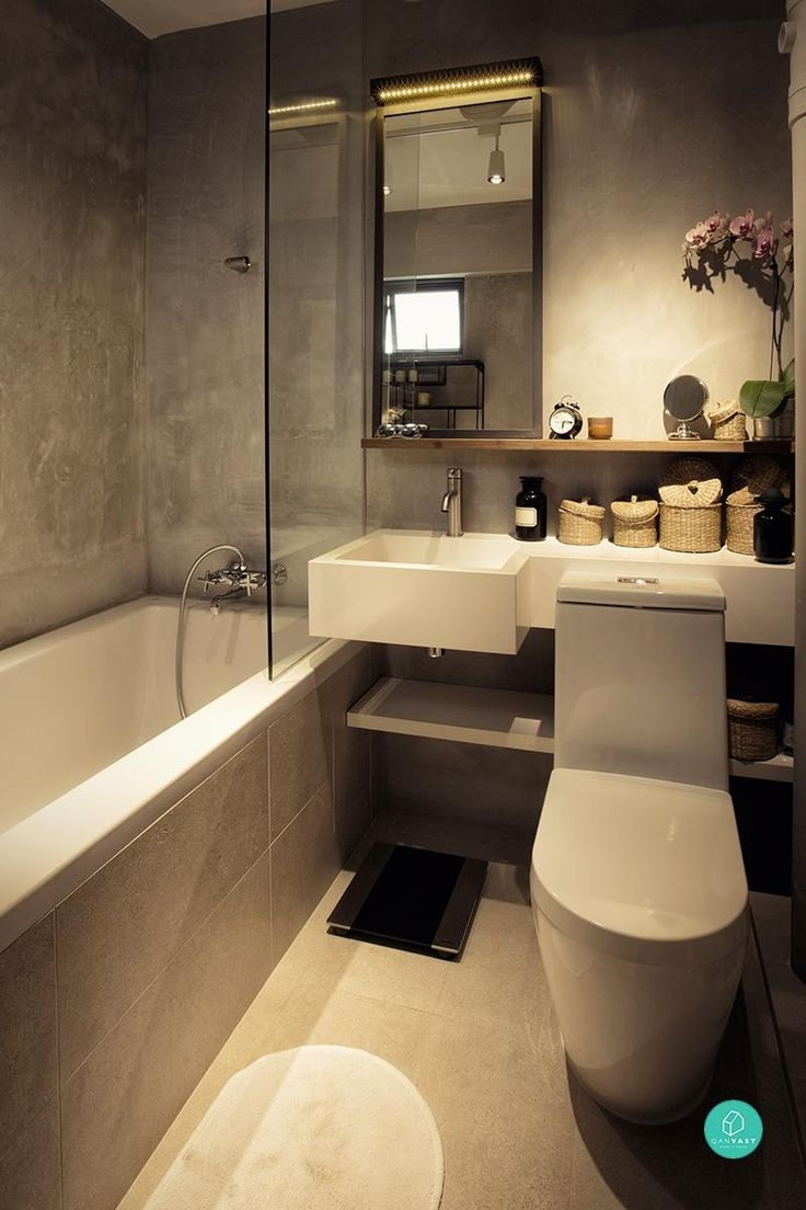 small bathroom bathtub concrete