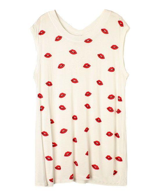 Red Lips Printed Sleeveless T-shirt - Clothing