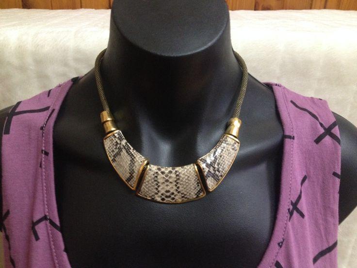 Snake Skin Antique Brass Look Necklace Brown/Gold Tones