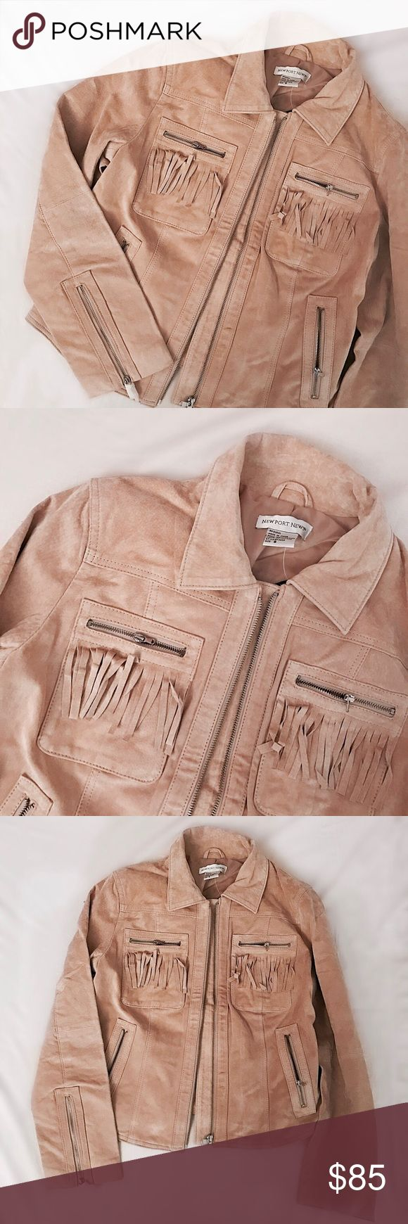 """Vintage 1970s Fringe Suede Jacket Vintage tan suede jacket with fringe- a total classic to pair with jeans and tshirts. Features suede fringe to front pockets and back, silver zip front hardware. Brand new with tags, rendered in lightly textured natural suede. Channel your inner Anita Pallenberg by wearing this over a vintage dress. Best for a size S-M, 24""""L, 18.5""""p to p. Retail value $200. Vintage Jackets & Coats"""