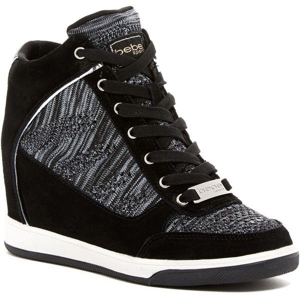 Bebe Cheree Wedge Sneaker ($60) ❤ liked on Polyvore featuring shoes, sneakers, black o, black sneakers, black wedge sneakers, black shoes, wedged sneakers and lace up wedge sneakers