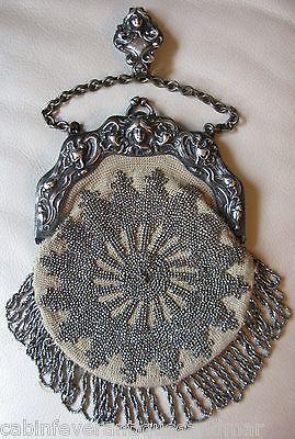 Antique G Silver Art Nouveau Woman Steel Bead Crochet Chatelaine Kilt Purse 1901