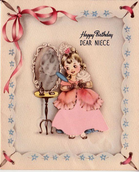 Vintage Happy Birthday Dear Niece Greetings Card (B2)