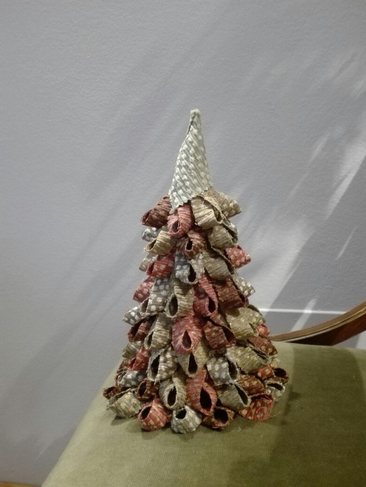 With the creative recycling of fabrics I created beautiful Christmas trees. Jim Thompson, PEBBLE BEACH line tissue.