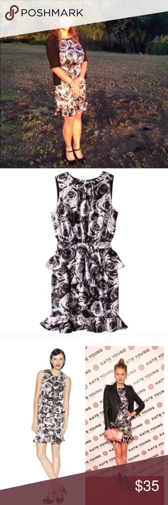 "Rose peplum dress Kate Young rose black, gray and white peplum dress.  Super cute and flattering!  Bust 17"", waist 13.5"" and length 31"".  Lined.  🚫trades Kate Young for Targer Dresses"
