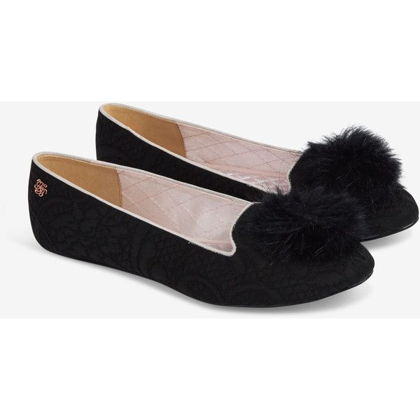 Ted Baker Pom Pom Slippers ($56) found on Polyvore featuring women's fashion, shoes, slippers and black
